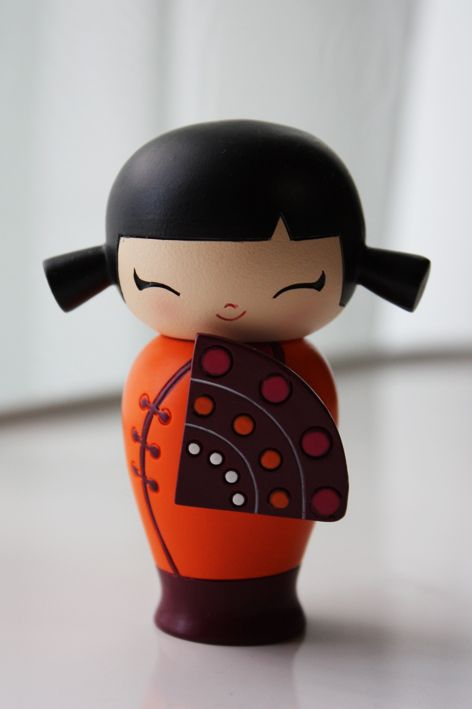 Shyly Smiling  Kokeshi Doll
