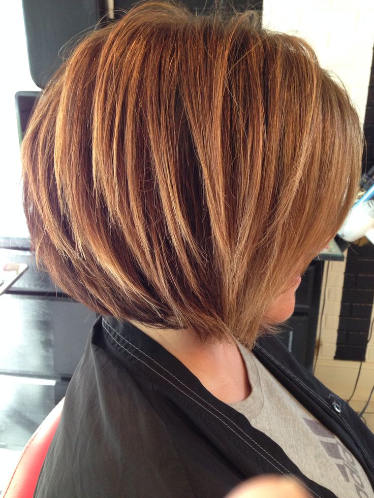 Stacked bob, highlighted brunette, razored bob, soft highlights, Bronde, honey blonde