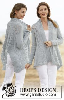 "June Gloom - Knitted DROPS jacket with lace pattern in ""Alpaca"" and ""Kid-Silk"". Worked sideways. Size: S - XXXL. - Free pattern by DROPS Design"