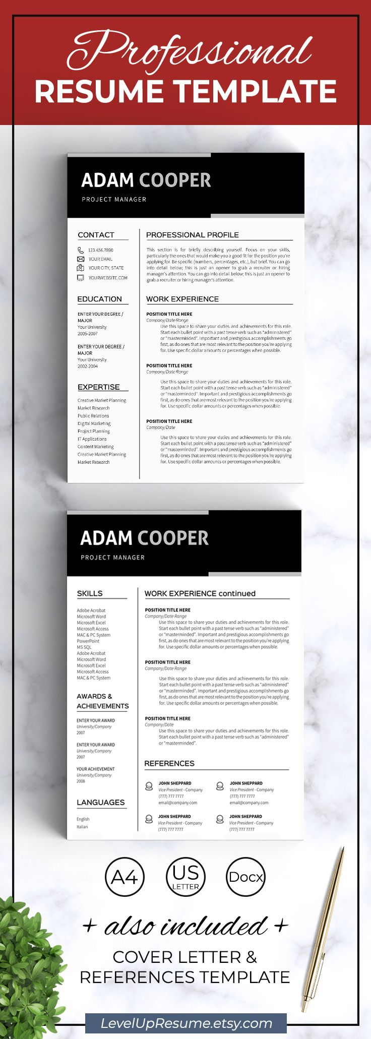 Modern resume template. Professional resume design. Career advice. Job search. Get hired! Click on the link or save the pin to your board >>>>> #career #career advice #job #jobsearch #resume #resumetemplate . Resume template instant download - Clean resume templates - Curriculum vitae