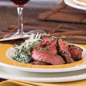 Pan-Seared Flat Iron Steak from Southern Living (on My Recipes). Tried this tonight and really liked it. My first successful cooking of a steak! =)