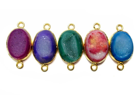 24 kt Gold Plated Druzy Connectors   Mix colour by finegemstone, $60.00