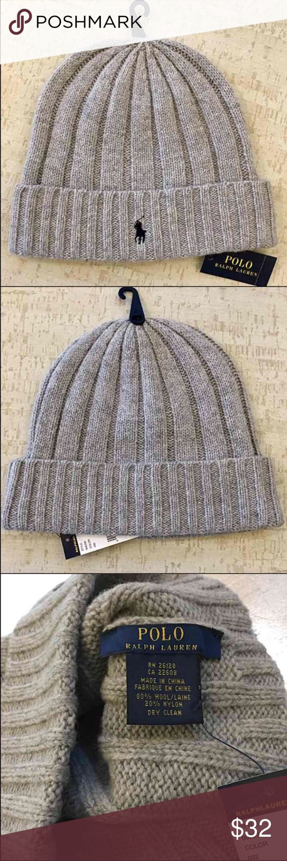 NWT - Men's POLO Beanie Authentic Ralph Lauren POLO Beanie - Light Grey with Navy Blue Polo emblem - 80% Wool, 20% Nylon *Price is Firm* Polo by Ralph Lauren Accessories Hats