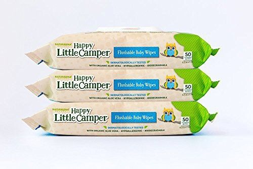 Happy Little Camper Flushable Baby Wipes with Organic Aloe, Septic Safe, 3 Packs of 50