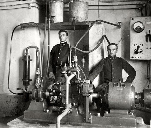 """Turin, Italy, circa 1912. """"Bernocchi (left) and wireless iconograph."""" The inventor Francesco de Bernocchi and his fax-like device, which by means of """"Hertzian waves"""" was said to facilitate the """"exact wireless transmission of messages, sketches, autographs, shorthand and other signs, with a secrecy hitherto unattained."""" Bain News Service glass negative: Francis De, Abt 1912, Bernocchi Left, Hertzian Waves, Fax Like Device, Hot News, De Bernocchi, Exact Wireless"""