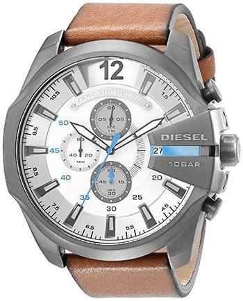 Montre Homme Diesel - DZ4280 - Quartz Chronographe - Bracelet Cuir Marron - Date - Cadran Acier inoxydable Gris