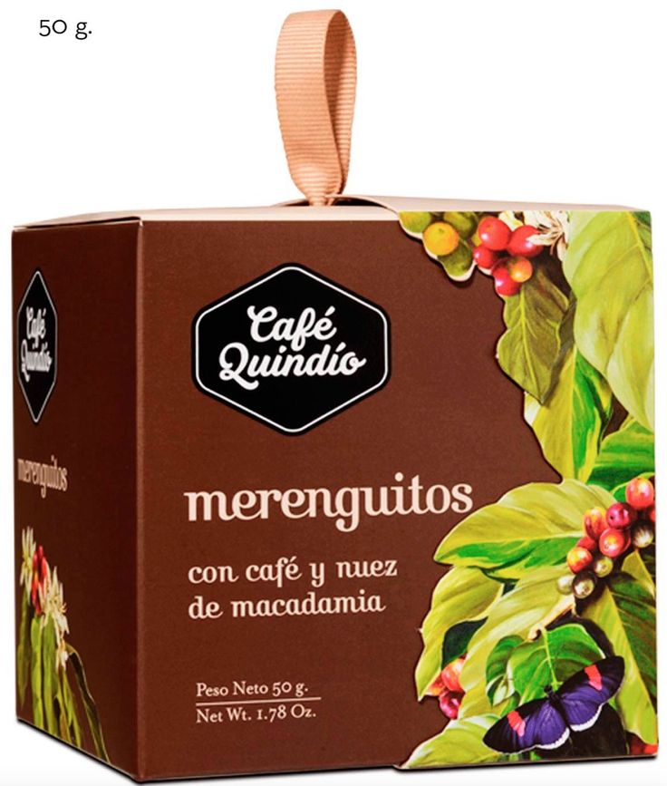 Merenguitos with Coffee and Macadamia. Available in 50g, 15g Display (8 units).