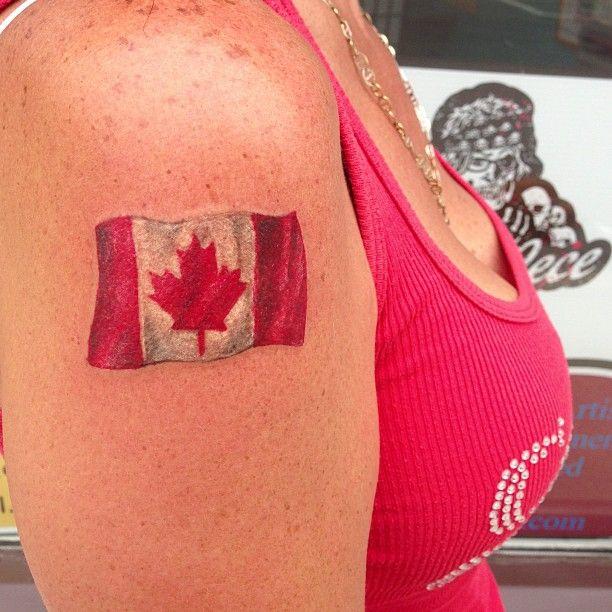 Canada Day Flag Tattoo @ http://gypsycecetattoo.com