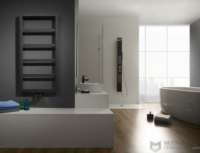 Drewniana podłoga w łazience   Grzejnik Enix