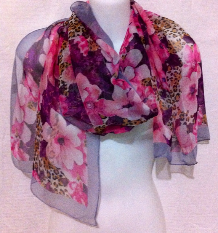 Scarf with floral and leopard print light weight material. $15