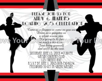 32 best 1920s dance decorations images on pinterest dance items similar to great gatsby roaring flapper couple birthday party invitation jpeg file for printing on etsy filmwisefo Choice Image
