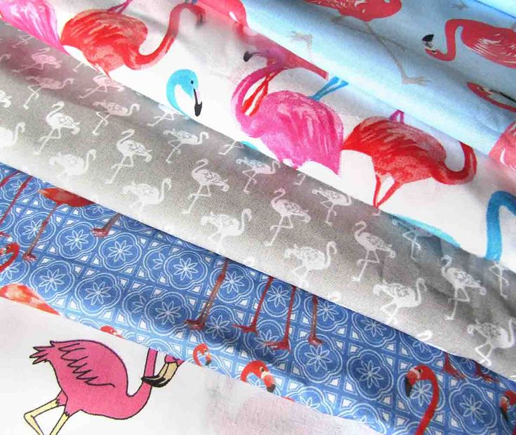Cotton Fabric Flamingos theme in 5 designs Novelty  Curtain fabric Quilting fabric Patchwork fabric by Fat 8th Fat Quarter Half meter Meter