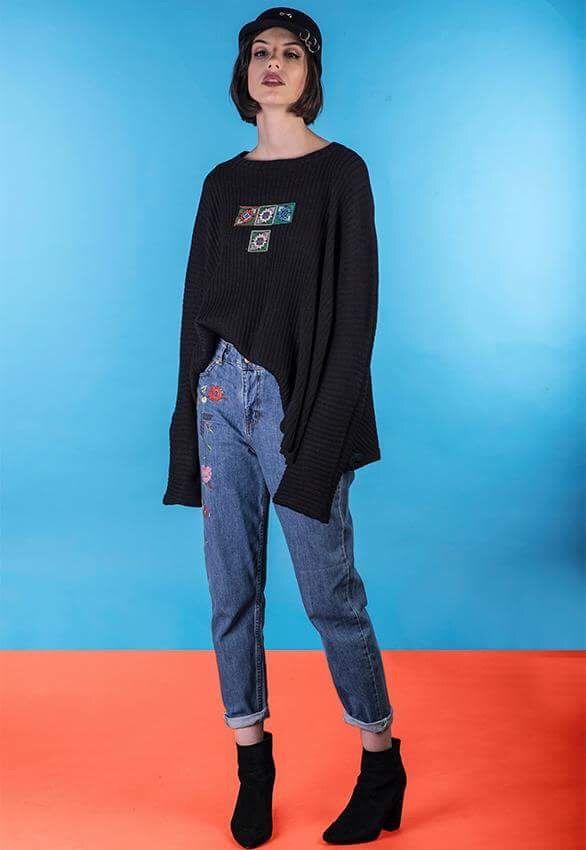 Flower jeans , larve black sweater, long sleeve