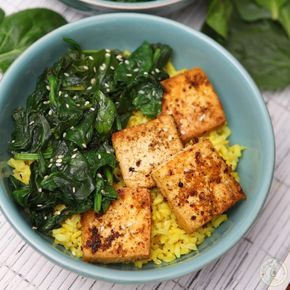 Simple Spinach Tofu With Rice (Not much of a recipe here, but a good reminder that simple bowls of well-seasoned rice, tofu, and spinach are lovely.)