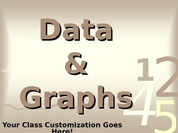 This is a 27-slide PPT presentation that provides the following information: 1. graphing vocabulary (data, scale, axis, interval, range, outlier); 2. definitions of and examples of 8 types of graphs (bar graph, double bar graph, line graph, line plot, stem-and-leaf plot, circle (pie) graph, pictograph, and histogram); and more.
