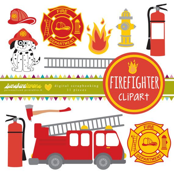 Firefighter Clipart  Fire Engine Clipart  by SunshineLemons. Bright and Fun!
