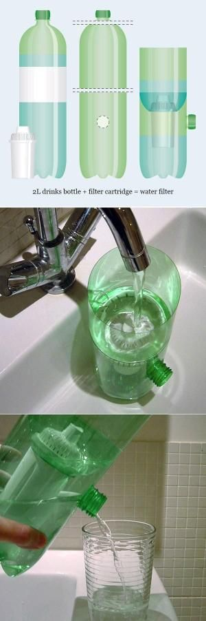 Water filtration device with a soda bottle by Darkduck