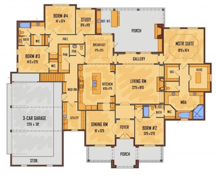 Image Result For Kitchen At Front Of House Plans House Floor Plans Best House Plans New House Plans
