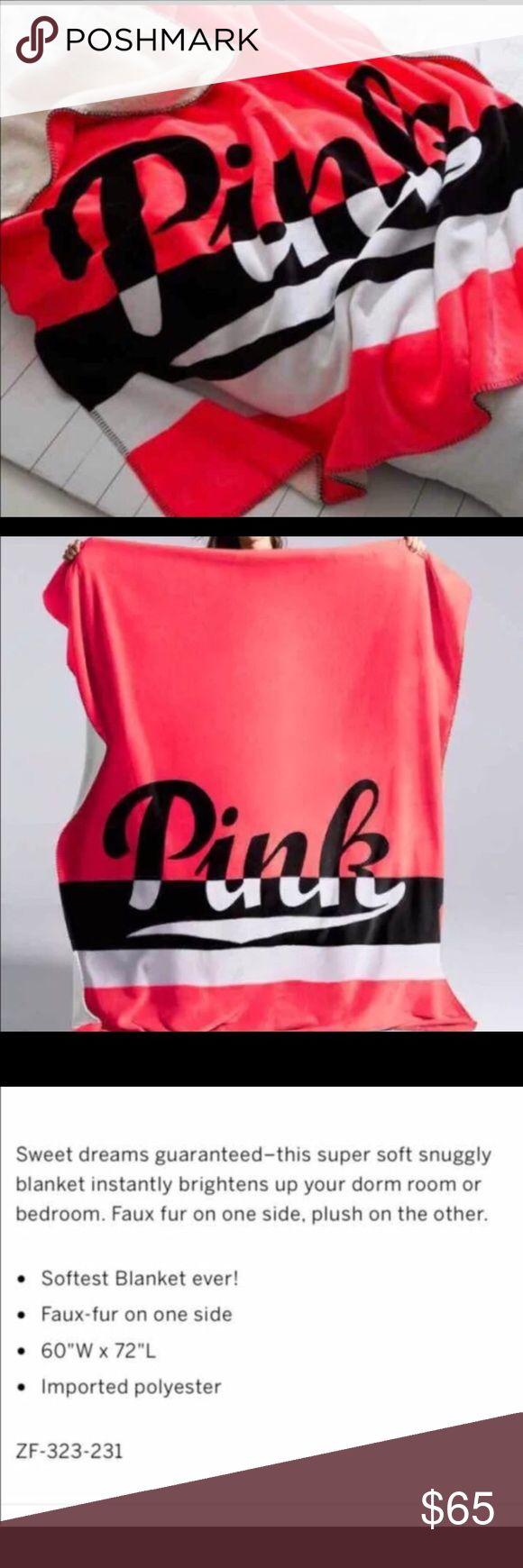 "Pink Victoria Secret Sherpa Blanket Pink Victoria Secret Sherpa Blanket Neon Pink and Black NWT No Trades Size 60""x72"" PINK Victoria's Secret Other"