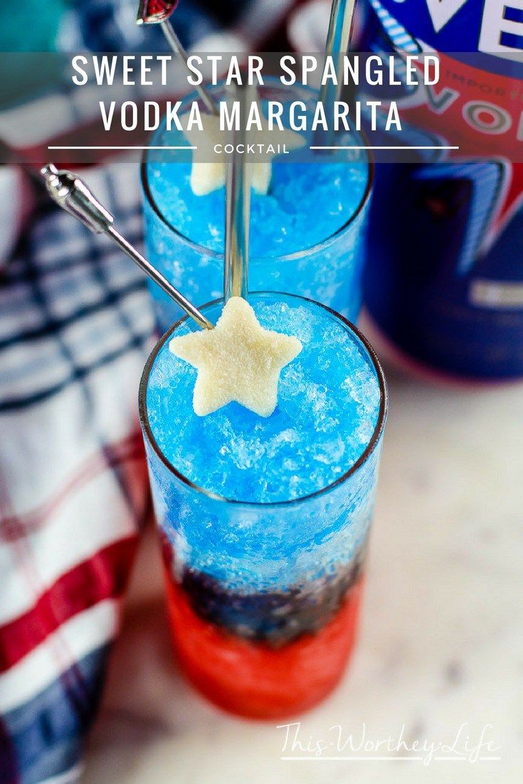 """""""Msg 4 21+"""" This Memorial Day or Fourth of July, turn your patriotic heart up a notch with our red, white, and blue margarita. Mixed with SVEDKA and a few other ingredients, this vodka margarita is sure to be the life of the party! Sweet Star Spangled Vodka Margarita [AD} #SVEDKASummer"""