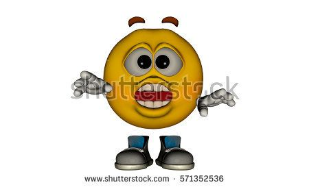 one yellow smile guy with the face and boots. Surprised. 3D rendering, 3D illustration