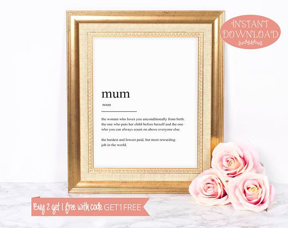 Printable Art, Mum Definition Print, Wall Art Prints, Instant Download, Quote Print, Minimalist Print, Gift for Mum, Family Print, Wall Art