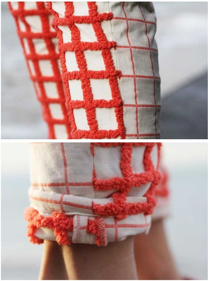 Ok! Make little hooked rugs to insert into cleaning pants knees for comfort! You could leave them exposed and hook a design into the pants!