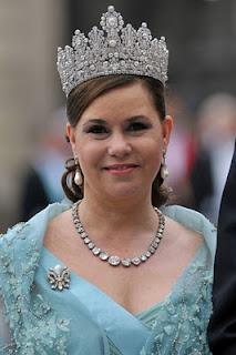 Grand Duchess Maria Teresa wearing the Luxembourg Empire Tiara at Crown Princess Victoria's wedding