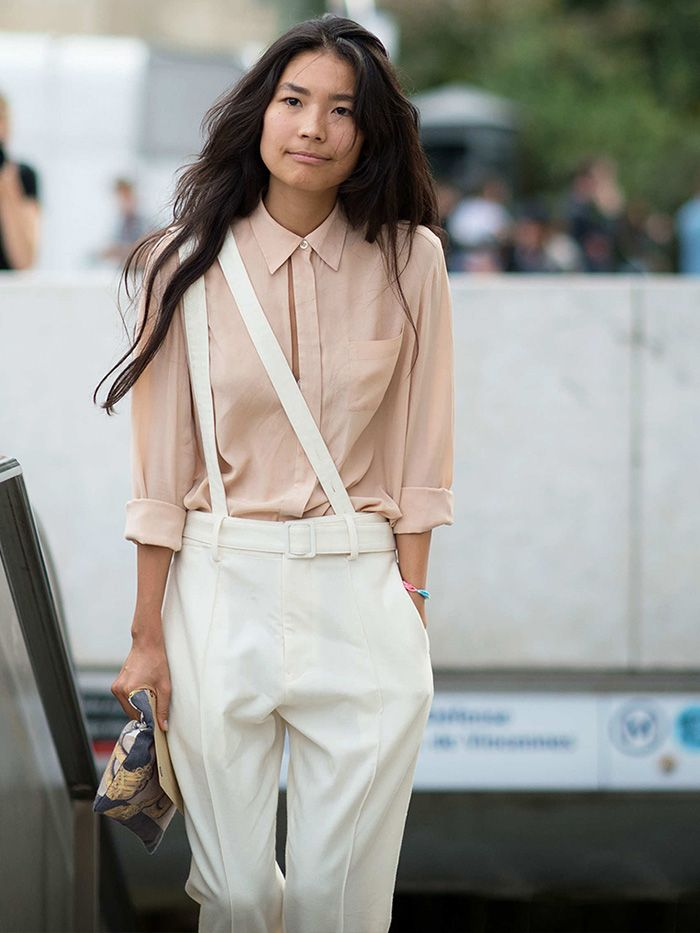 Nude silky button-up with white sideways suspenders