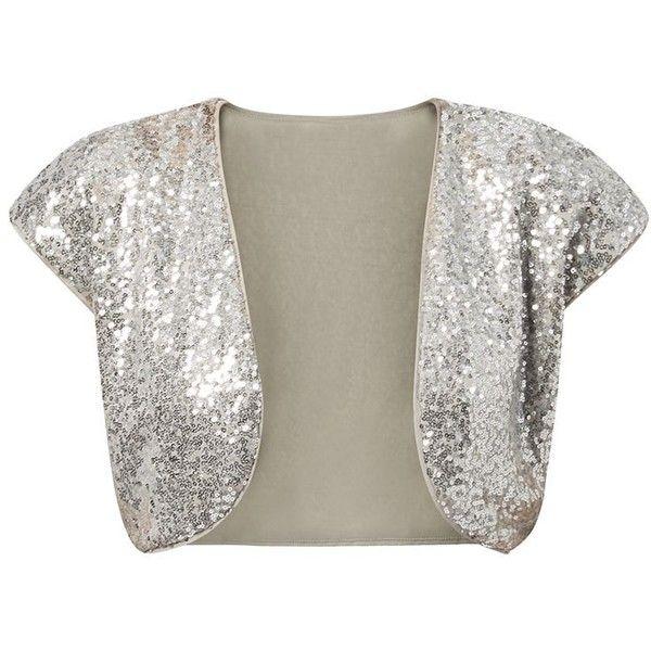 Mandi Silver Sequin Embellished Shrug ($26) ❤ liked on Polyvore featuring cardigans, bolero, shrug, tops, shrug cardigan, white shrug cardigan, mandi, sequin shrug and silver cardigan shrug