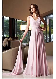 Exquis de mousseline de soie A-ligne V-cou Encolure pleine longueur mère de la robe de mariée