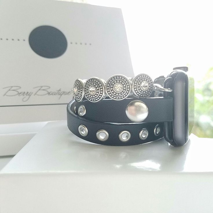 Excited to share the latest addition to my #etsy shop: Apple Watch Band 38 mm, Apple Watch Band, Apple Watch Band 42 mm, Apple Watch Series 3, Leather and Black Beaded Band, Wrap Bracelet