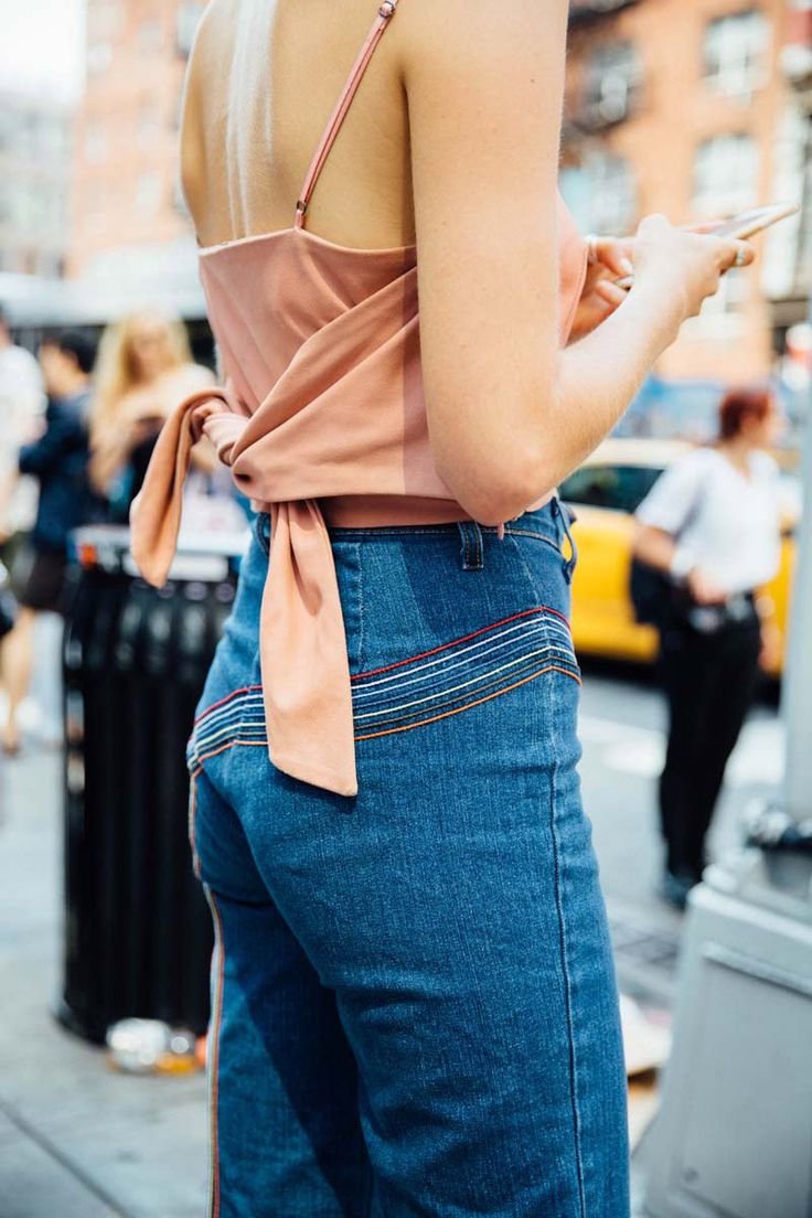 multi-lines of roller coasting colour for 70s touches to high waisted denim. Slip to with back tie detail ✌ || Saved by Gabby Fincham ||