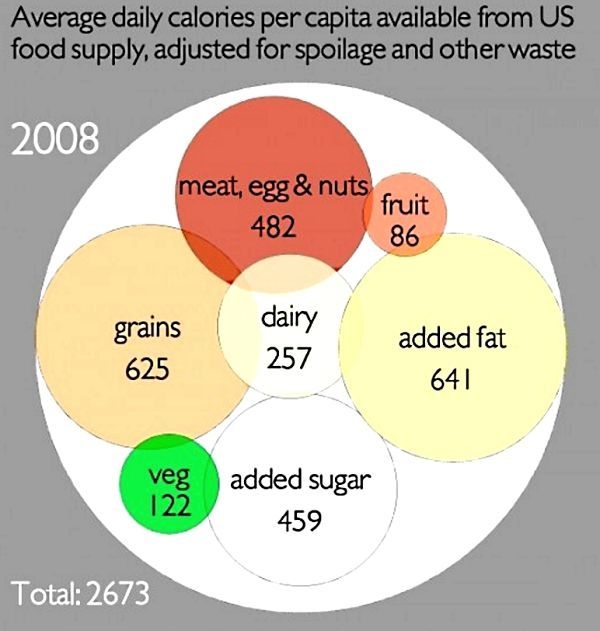 We eat too many calories from fats and oils in the diet