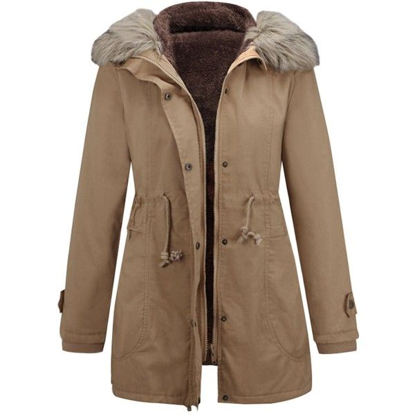 Padded Parka Coat with Furry Hooded Collar (£21) ❤ liked on Polyvore featuring outerwear, coats, jackets, padded parka, padded coat, parka coat, collar coat and brown parka