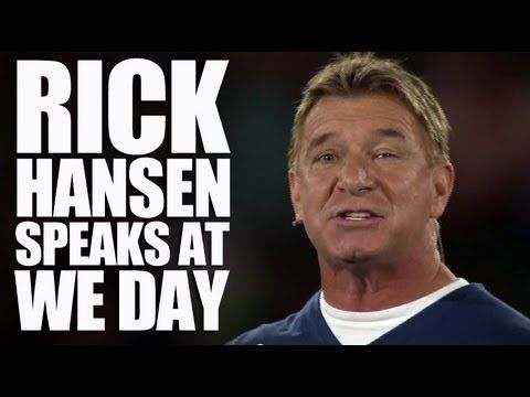 Rick Hansen Speaks On Stage at We Day - Speaking on stage at We Day, Rick Hansen shares his inspiring story - and his belief that it's your attitude about what happens to you, and what you do with it, that counts.
