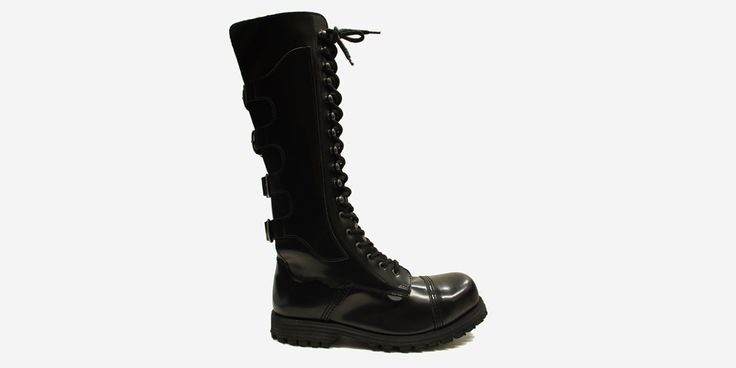 GRIPPER 20 EYELET, 4 BUCKLE STEEL CAP BOOT - BLACK LEATHER - SINGLE SOLE - SPECIAL ORDER - Underground