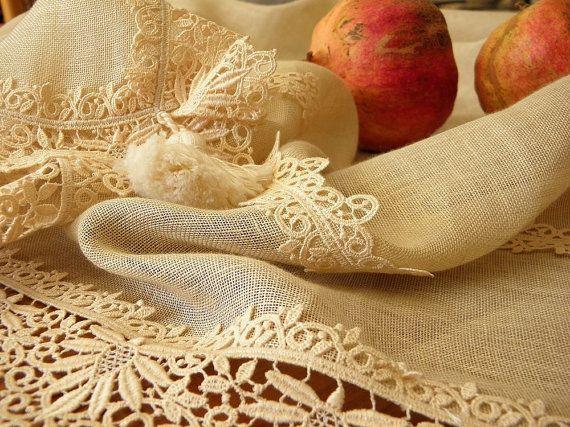 Shabby chic elegant linen lace tablecloth by ClassyInteriorsDeco