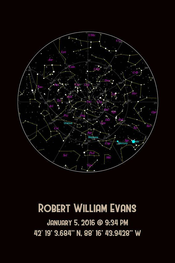 Birthday Star Map.What Did The Sky Look Like At The Moment Of Your Birth Our
