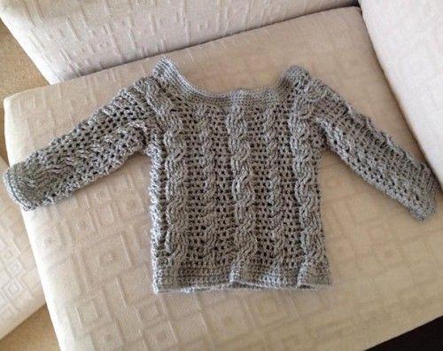 Crochet For Children: Easy Cable Crochet Toddler Sweater - Tutorial