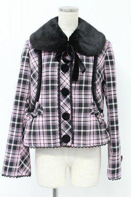 [SALE] Angelic Pretty / Dolce Tartan Fur Erizuke Jacket _do0   Closet Child  Online
