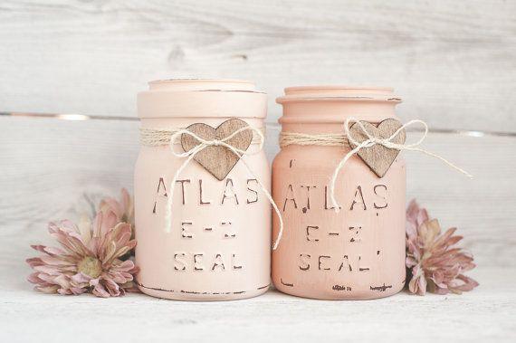 Blush Pink vintage painted mason jars.