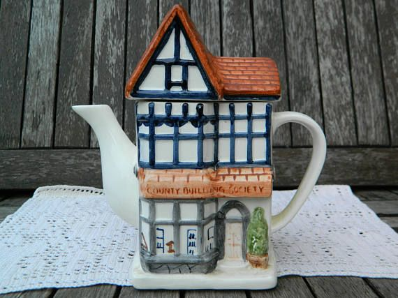 Novelty Handpainted Building Society Tudor House Brown Roof