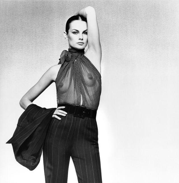 yves saint laurent icons of fashion design nadelstreifen f r die frau sommer 1971 foto. Black Bedroom Furniture Sets. Home Design Ideas