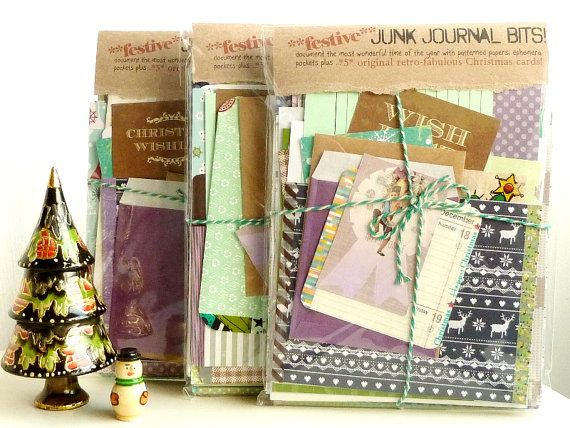 *Festive Junk Journals - complete with 5 original 70s/80s retro Christmas cards* by Julie Kirk / Etsy. Document the most wonderful time of the year with an eclectic colour-coordinated pack of papery bits: £16.50.