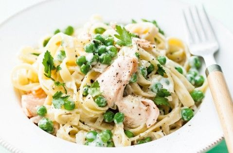 Creamy salmon tagliatelle recipe - super easy and tasty. I added prawns too which worked well.