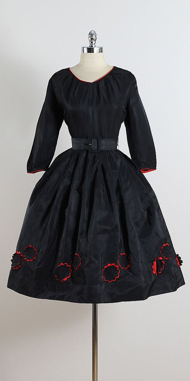 Crimson Peek ➳ vintage 1950s dress * black taffeta * floral accents at hem * red lining under flowers * detachable belt * metal side zipper condition  