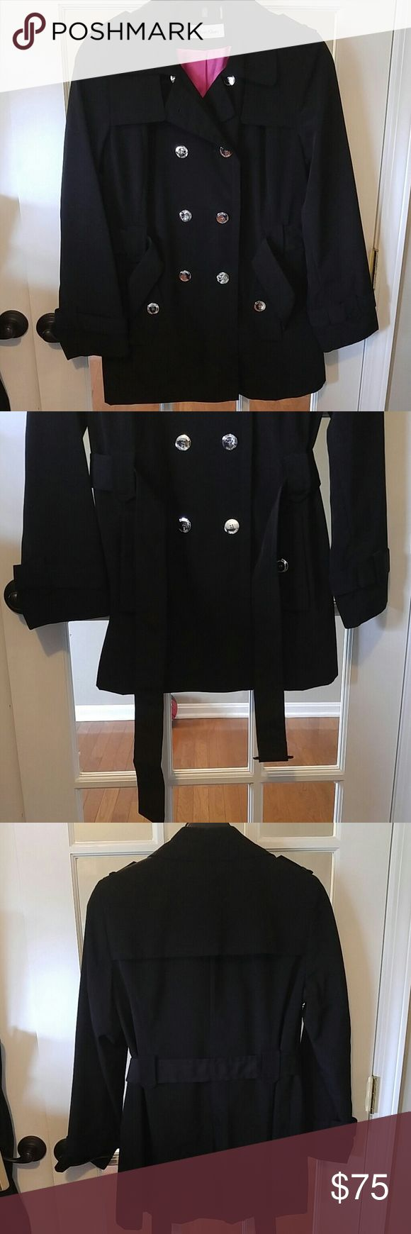 Calvin Klein double breasted trench coat Hot Pink lining Belted Like new condition Calvin Klein Jackets & Coats