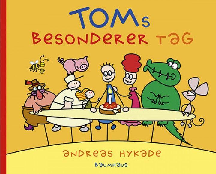 """""""TOMs besondere Tag"""" • Das Buch zur preisgekrönten TV-Serie • Hardcover • 25 Seiten • mit Geburtstagssong • Illustrationen: Andreas Hykade • Baumhaus Verlag • Maße: 26,5 x 21,5 cm"""