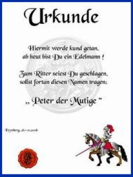 Urkunde für Ritterparty / Mittelalterparty